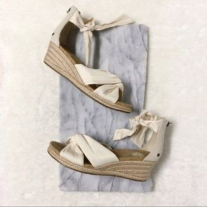 Ugg Traci Wedge Espadrille Size 8 Canvas Cream